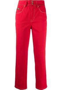 Versace Jeans Couture Calça Jeans Cropped Com Pesponto Contrastante - Vermelho