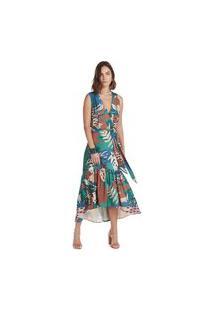 Vestido Maria Valentina Midi Decote V Com Faixa Verde