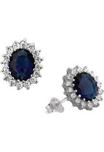 Brinco De Prata Da Princesa Diana Azul - Unissex-Azul