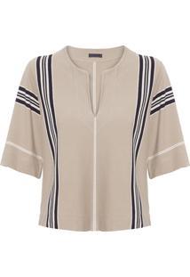 Blusa Feminina Raw Stripe - Bege