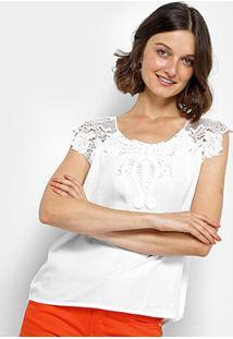 Regata Pérola Guipir Feminina - Feminino-Branco