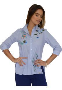 Camisa Mamorena Bordada Aberturas Laterais Listrado Azul