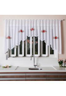 Cortina Cascata Premium Branca Floral Vermelho 3,00 X 1,00M Único - Kanui