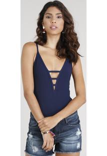 Body Feminino Canelado Com Tiras Alças Finas Decote V Azul Marinho
