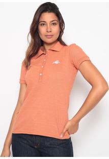 Polo Lisa Com Bordado - Laranja & Brancaclub Polo Collection