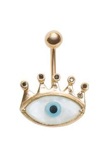 Brinco Olho Grego Com Diamantes Em Ouro - Dourado