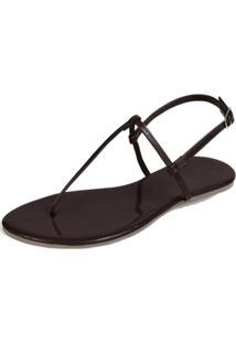 Sandália Rasteira Mercedita Shoes Verniz Marrom