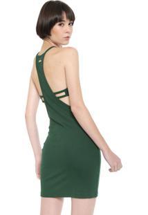 Vestido Triton Curto Canelado Verde