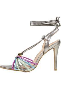 Sandália Salto Alto Week Shoes Lb Inspired Chumbo