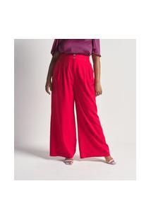 Calça Pantalona Em Crepe Com Botões Dourados Curve & Plus Size