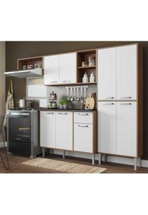 Cozinha Compacta Xangai 9 Portas Multimã³Veis Nogueira/Branco Marrom - Marrom - Dafiti