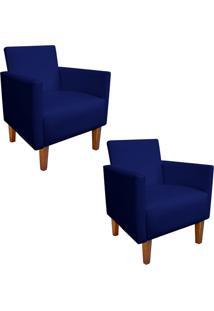 Kit 02 Poltrona Decorativa Compacta Jade Corino Azul Marinho Com Pés Castanho - D'Rossi