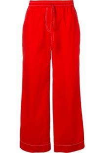P.A.R.O.S.H. Drawstring Flared Trousers - Vermelho