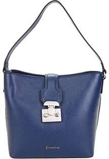 Bolsa Couro Dumond Shopper Relax Hobo Grande Feminina - Feminino-Azul Navy