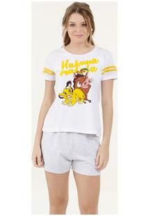 Pijama Feminino Estampa Frontal Manga Curta Disney