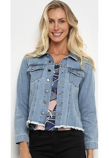 Jaqueta Jeans Influencer Barra Desfiada Feminina - Feminino-Azul Claro