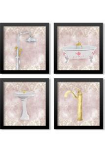 Kit 4 Quadros Los Quadros Decorativos Banheiro Artístico Com Moldura Preta E Vidro