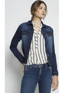 Jaqueta Jeans Com Recortes- Azul Escuro- Leelee