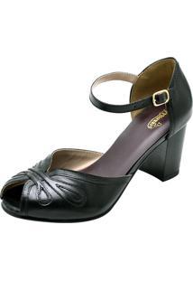 Sandália Em Couro Sapatofran Retro Vintage Preto
