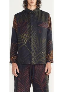 Camisa Masc Mix Palm Leaf-Verde / Carmim / Mostarda - P