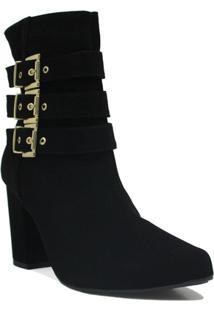 Bota Cano Curto Zariff Shoes Ankle Boot Fivela Feminina - Feminino-Preto