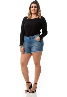 Shorts Feminino Jeans Cintura Alta Plus Size