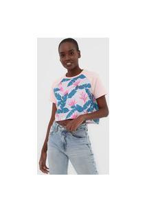 Camiseta Cropped Hurley Raglan Folhagem Rosa