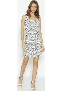 Vestido Geométrico - Off White & Preto- Moiselemoisele