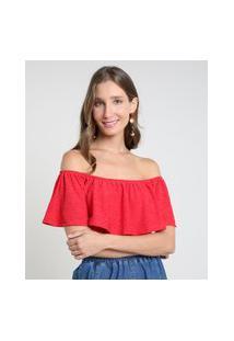 Blusa Feminina Ciganinha Em Laise Manga Curta Vermelha