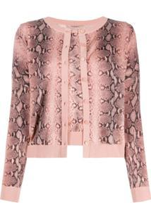 Twin-Set Cardigan Com Animal Print - Rosa