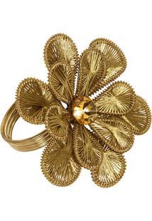 Porta-Guardanapo Artesanal De Metal Com Linhas Golden Flower