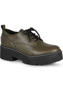 Sapato Feminina Oxford Tratorado Verde