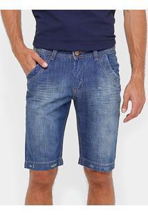 Bermuda Jeans Razon Puídos Reta Masculina - Masculino