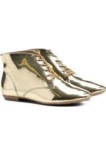 Bota Cano Curto Bottero Metalizada Feminina - Feminino-Dourado