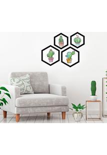 Kit 4 Quadros Com Moldura Hexagonal Cactus