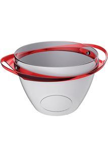 Balde De Gelo Com Alças - Cristal/Vermelho - Multistock