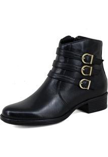 Bota Cano Curto Feminina Mr Shoes Confortavel Em Couro Preto