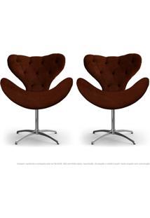 Kit De 02 Cadeiras Decorativas Poltronas Egg Com Capitonê Marrom Com Base Giratória