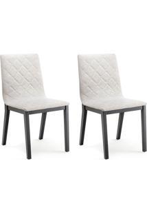 Conjunto Com 2 Cadeiras De Jantar Dora Ebanizado E Cinza Escuro