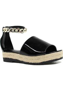 Sandália Zariff Shoes Plataforma Metais - Feminino-Preto