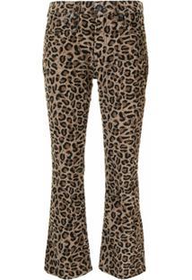 R13 Calça Jeans Kick Fit Com Estampa De Leopardo - Marrom