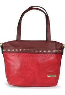 Bolsa De Mão Feminina La Celicia Costura Vermelho