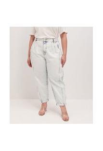 Calça Baggy Jeans Com Botão De Pérola Curve & Plus Size | Ashua Curve E Plus Size | Azul | 54