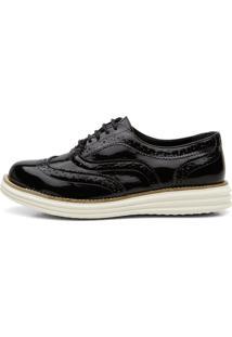 Sapato Social Feminino Top Franca Shoes Oxford Verniz Preto