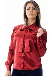 Camisa Pimenta Rosada Da Laço Albertina - Feminino-Vermelho
