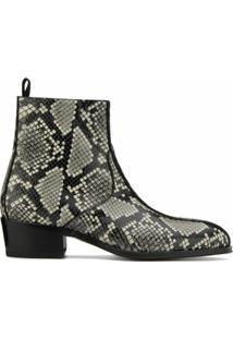Giuseppe Zanotti Ankle Boot New York Double Com Efeito Pele De Cobra - Preto