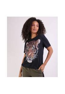 Blusa Feminina Tigre Manga Curta Decote Redondo Preto