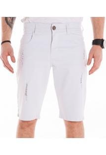 Bermuda Sarja California Prime Bolso Redondo Puido Branco