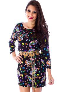 Vestido Lon Camisete Flores Preto