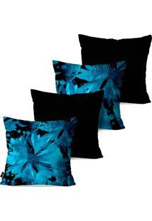 Kit Com 4 Capas Para Almofadas Pump Up Decorativas Folhas Azuis Estilo Abstrato 45X45Cm